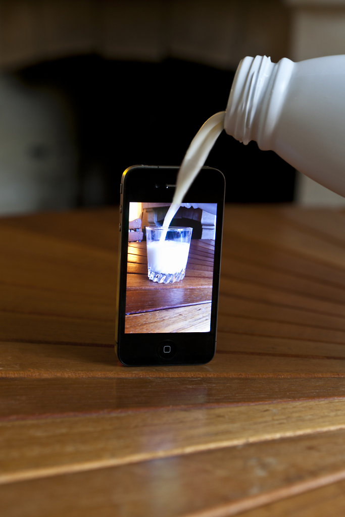 milk bottle and iphone, augmented reality, 2012